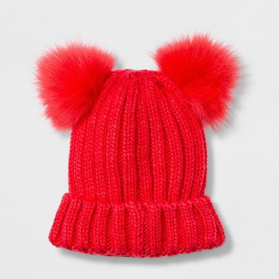 Girls  Faux Fur Pom Beanie - Cat   Jack™ Red One Size   Target 6ed0a3e3bcc