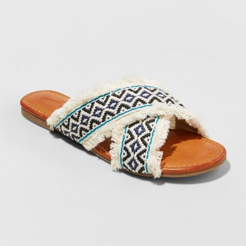 b0b352cf83634 Women's Jupiter Cross Band Slide Sandals - Universal Thread™ Cream 11 :  Target