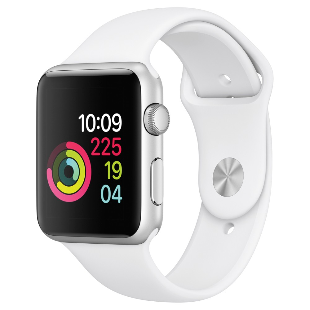 Apple Watch Series 1 42mm Silver Aluminum Case with White Sport Band, Silver/White