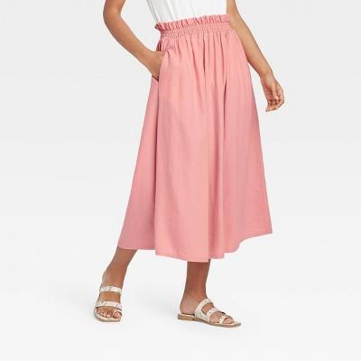 Women's Smocked Waist Midi Skirt - A New Day™