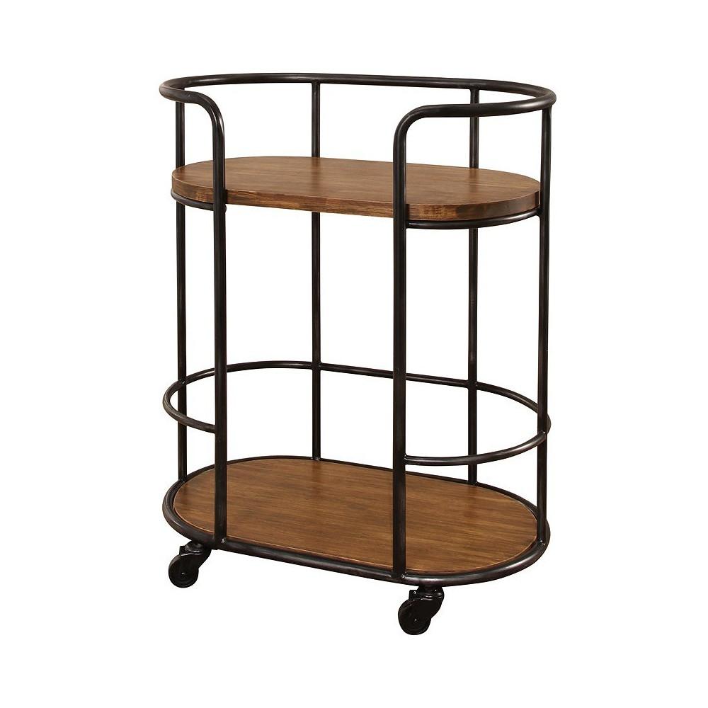 Odom Industrial 2 Tier Shelf Bar Cart Brown - Abbyson Living, Natural