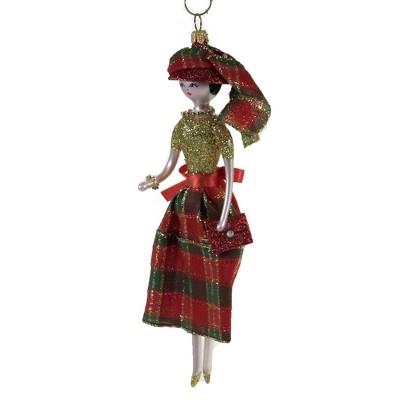 "Italian Ornaments 7.0"" Chloe In Gliitered Plaid Skirt Ornament Italina Diva Lady  -  Tree Ornaments"