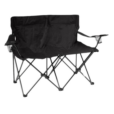 Trademark Innovation Loveseat Style Double Camp Chair with Steel Frame and Carrying Case - Black