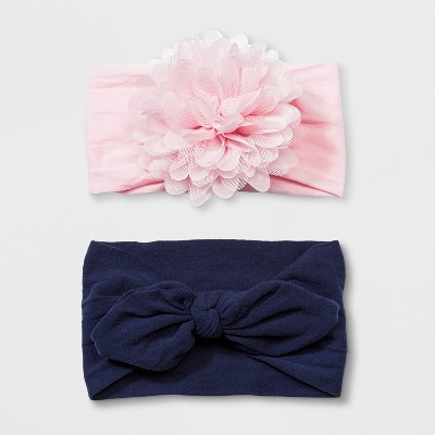 Toddler Girls' 2pk Headwrap with Nylon Bow & Chiffon Flower - Cat & Jack™ Pink/Navy