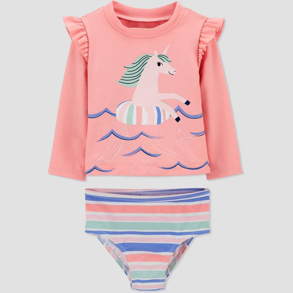 Baby Girls 39 Unicorn Print Long Sleeve Rash Guard Set Just One You 174 Made By Carter 39 S Pink 6m