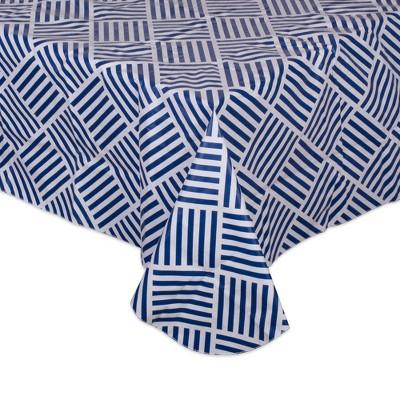 "70"" x 52"" Cotton Grid Kitchen Tablecloth Blue - Design Imports"