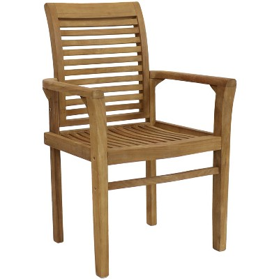 Solid Teak Outdoor Patio Armchair - Sunnydaze Decor