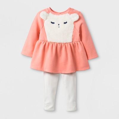 Baby Girls' 2pc Long Sleeve Llama Face Tunic Fleece and Cozy Leggings - Cat & Jack™ Peach/Cream 3-6M