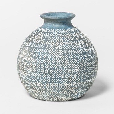 Earthenware Round Vase 6in - Blue - Threshold™