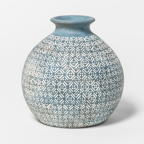 Earthenware Round Vase 6in - Blue - Threshold™ - image 1 of 1