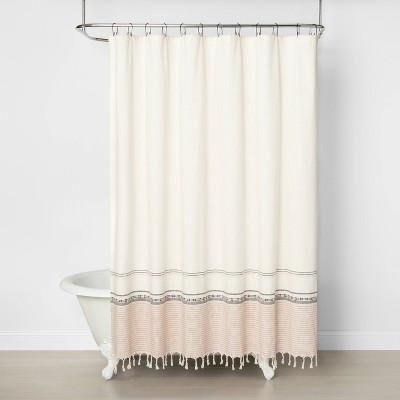 Engineered Ombre Border Shower Curtain Copper/Gray - Hearth & Hand™ with Magnolia