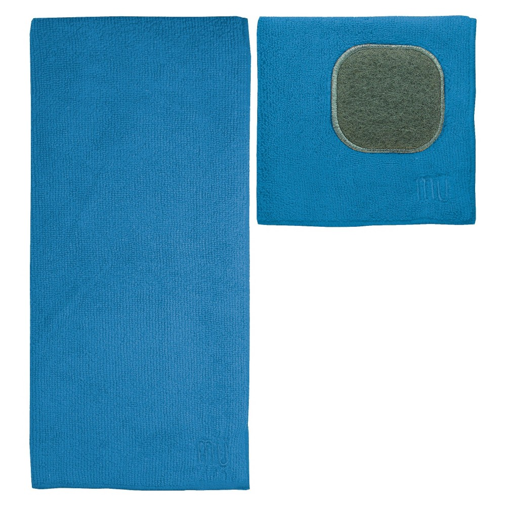 Image of 2pc Ultra Absorbent Solid Microfiber Kitchen Towel With Scrubber Cloth Royal Blue - Mu Kitchen