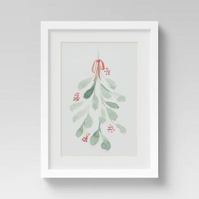 "12"" x 16"" Christmas Holly Framed Wall Print - Threshold™"