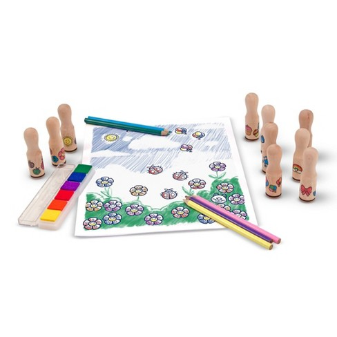 Melissa & Doug Deluxe Happy Handle Stamp Set With 10 Stamps, 5 Colored Pencils, and 6-Color Washable Ink Pad - image 1 of 4