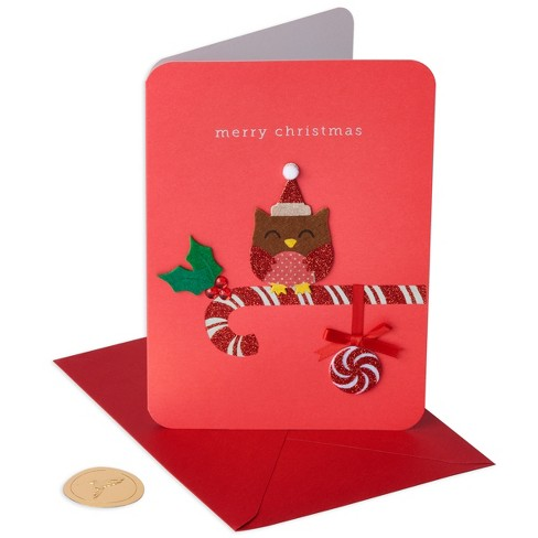 8ct papyrus handmade fuzzy owl holiday boxed cards
