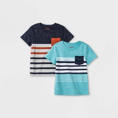 Toddler Boys' 2pk Striped Short Sleeve T-Shirt - Cat & Jack™ Navy/Teal