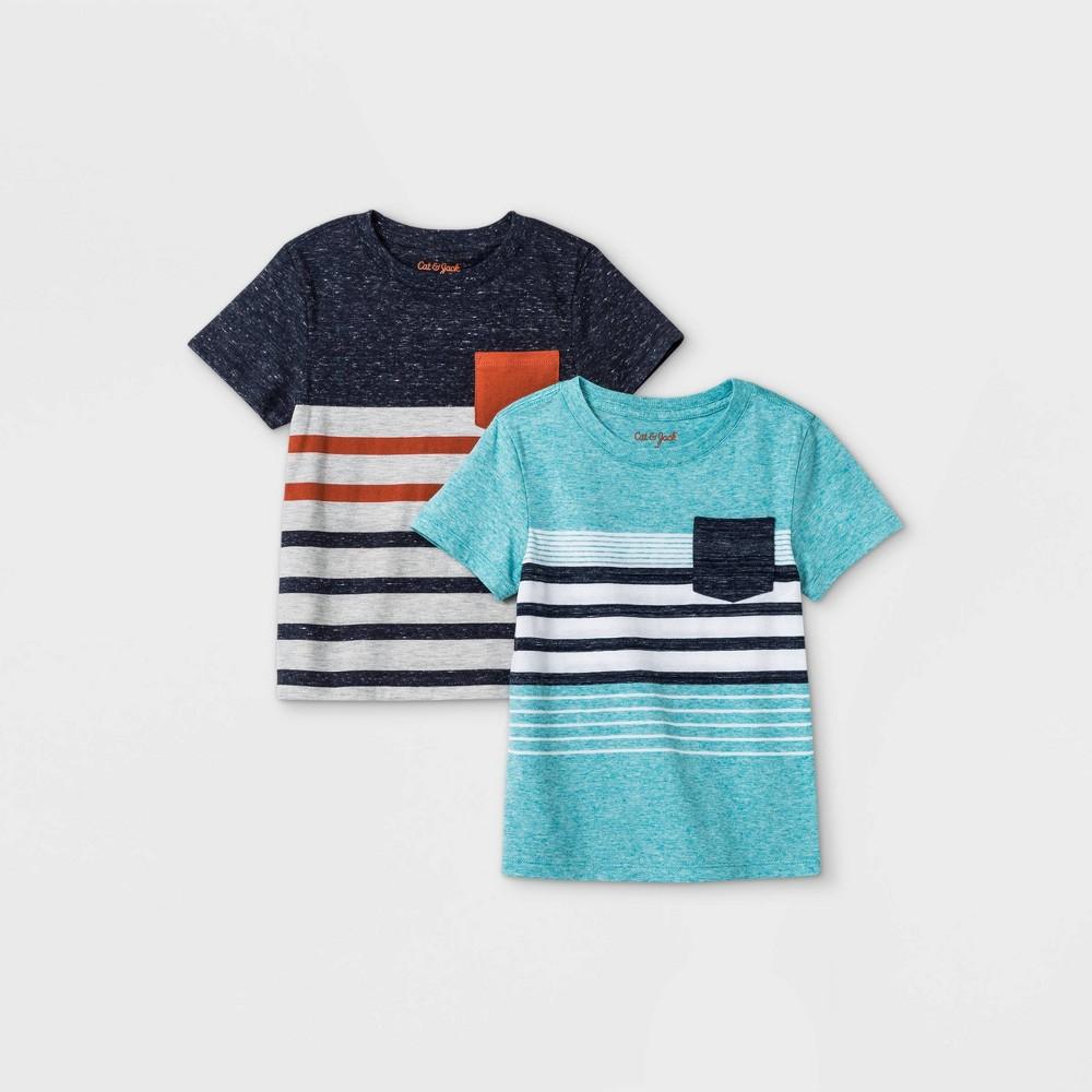 Toddler Boys 39 2pk Striped Short Sleeve T Shirt Cat 38 Jack 8482 Navy Teal 18m