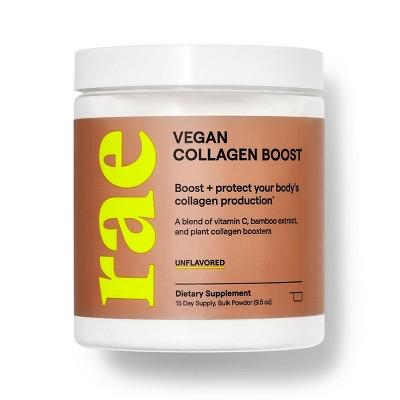 Rae Vegan Collagen Boost Dietary Supplement Bulk Powder for Natural Collagen Production - Unflavored - 9.5oz