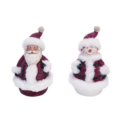 Transpac Resin 8 In Red Christmas Sweater Snowman Couple Set Of 2 Target