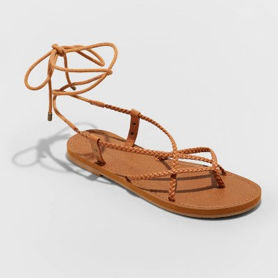 Women's Tegan Braided Lace Up Sandals - Universal Thread™ Cognac