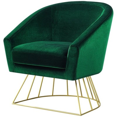 Groovy Leo Green Velvet Accent Chair Gold Metal Base Barrel Tufted In Green Posh Living Caraccident5 Cool Chair Designs And Ideas Caraccident5Info
