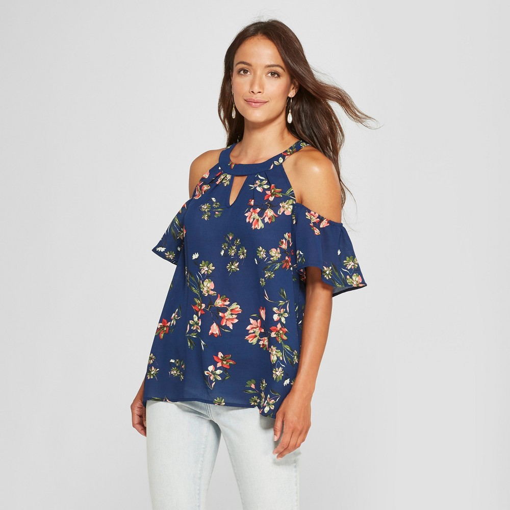 Women's Floral Print Short Sleeve Cold Shoulder Choker Neck Blouse - Lux II - Navy M, Blue