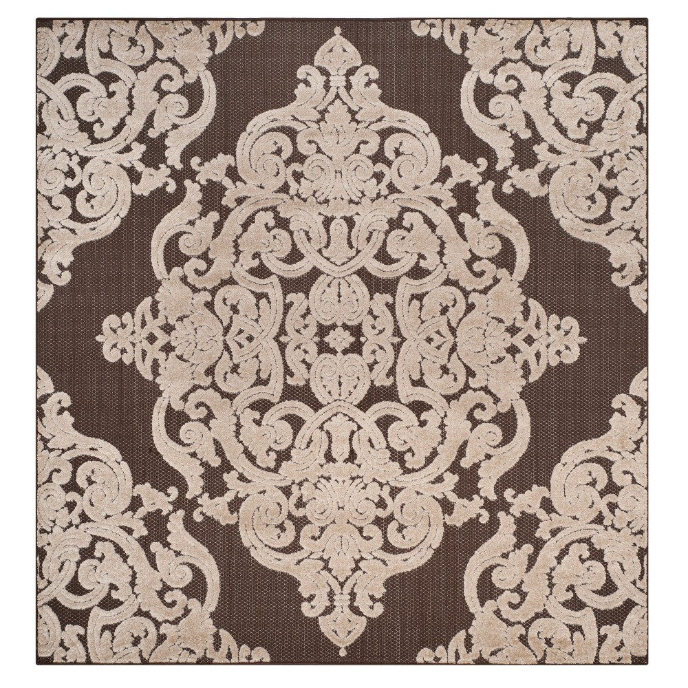 Brown Lace Loomed Square Area Rug 6'7