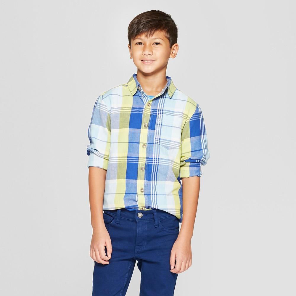 Boys' Long Sleeve Plaid Button-Down Shirt - Cat & Jack Blue/Yellow Xxl Husky