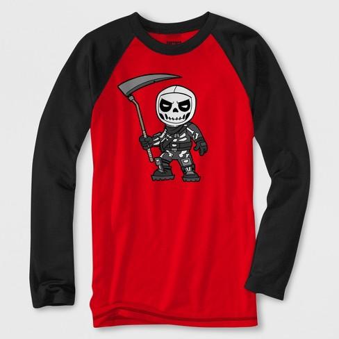 b56a1ba3 Boys' Fortnite Skeleton Long Sleeve Raglan Graphic T-Shirt - Red/Black