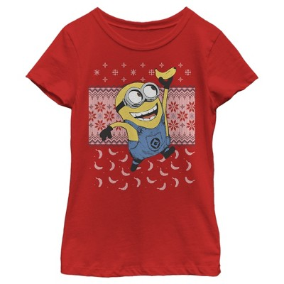 Girl's Despicable Me Ugly Christmas Minons Banana T-Shirt