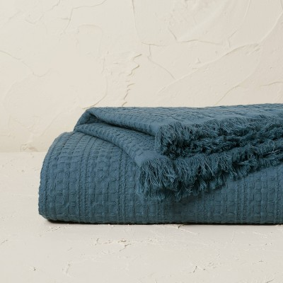 Oversized Waffle Weave Bed Throw Blue - Opalhouse™ designed with Jungalow™