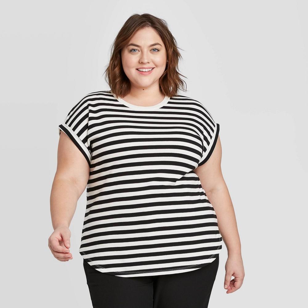 Women's Plus Size Striped Short Sleeve Crewneck Cuffed T-Shirt - Ava & Viv Black 2X, Women's, Size: 2XL was $16.99 now $11.89 (30.0% off)