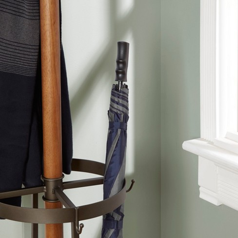 3e880ef83c8 Dawson Wood And Metal Coat Rack With Umbrella Stand Brown - Silverwood    Target