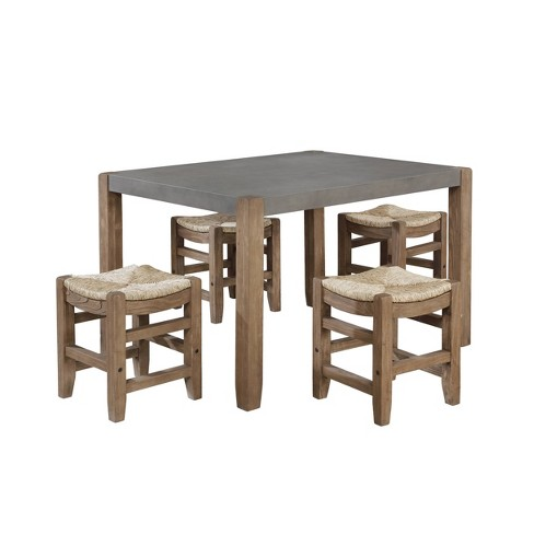 Davenport Dining Table and 4 Stools Light Amber - Alaterre Furniture - image 1 of 4