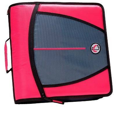 Case-it Mighty Zip Tab Zipper Binder, 3 Inch O-Rings, Pink