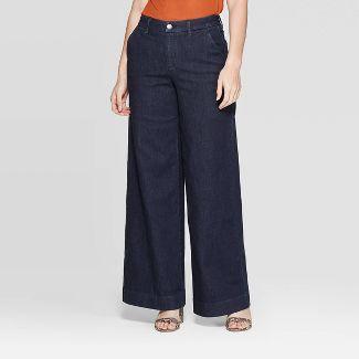Women's High-Rise Regular Fit Wide Leg Pants - A New Day™ Indigo 14
