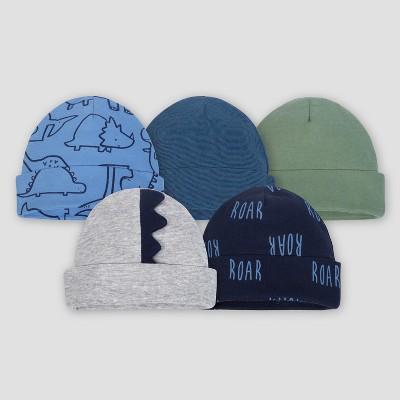 Gerber® Baby Boys' 5pk Caps Dino - Blue 0/6M