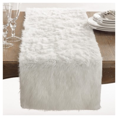 "72""x15"" Faux Fur Table Runner - Saro Lifestyle"
