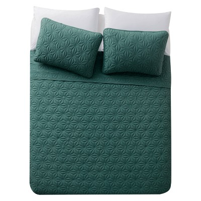 Green Kaleidoscope Embossed Quilt Set King 3pc