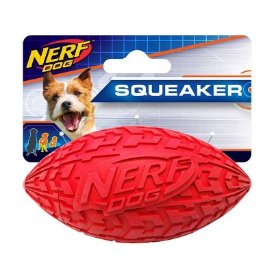 """NERF Rubber Tire Squeak Football Dog Toy - Red - 4"""""""