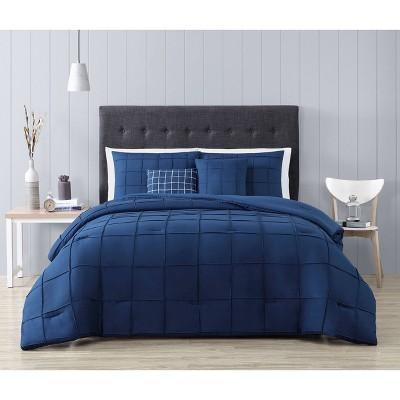 Queen 5pc Box Pinch Pleat Comforter Set Navy - Geneva Home Fashion