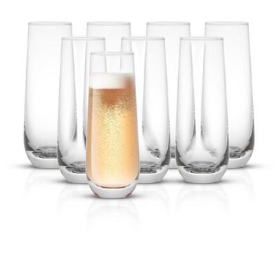 JoyJolt Milo Stemless Champagne Flutes Crystal Glasses - Set of 8 Glasses - 9.4oz