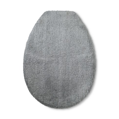 Awesome Tufted Spa Toilet Lid Cover Elongated Gray Fieldcrest Machost Co Dining Chair Design Ideas Machostcouk