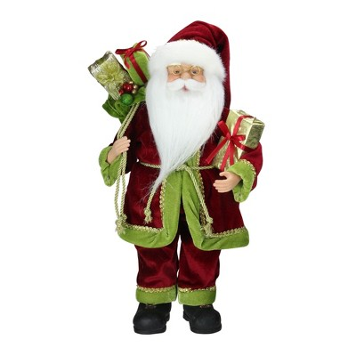 """Northlight 16"""" Red and Green Grand Imperial Santa Claus with Gift Bag Christmas Tabletop Figurine"""