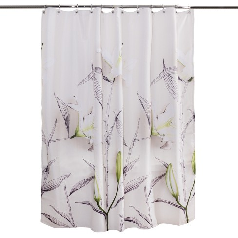 Floral Shower Curtain White Green