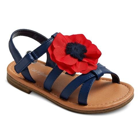 Toddler Girls' Orsa Large Poppy Flower On Slide Sandals Cat & Jack™ - Navy 9 - image 1 of 3