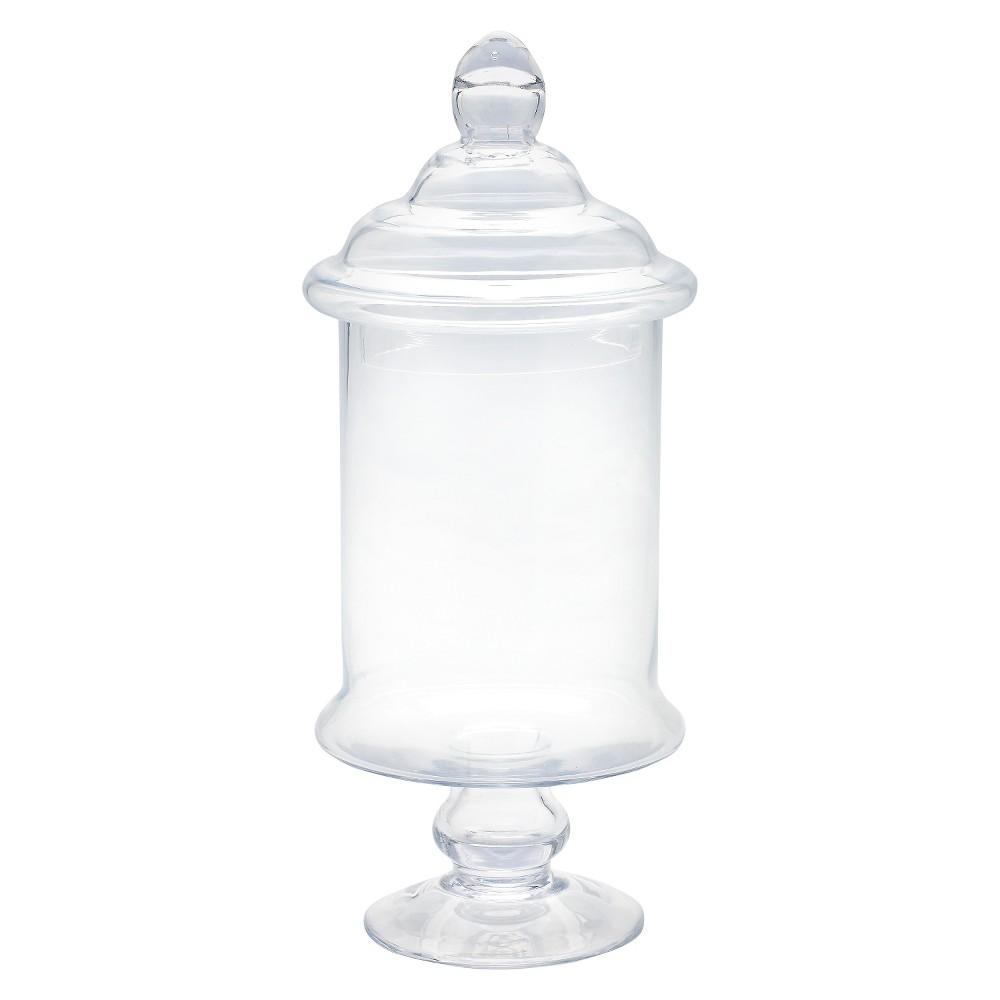 Diamond Star Glass Apothecary Jar with Lid Clear (15x6.5), Medium Clear