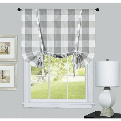 Kate Aurora Country Farmhouse Buffalo Plaid Gingham Tie Up Window Curtain Shades