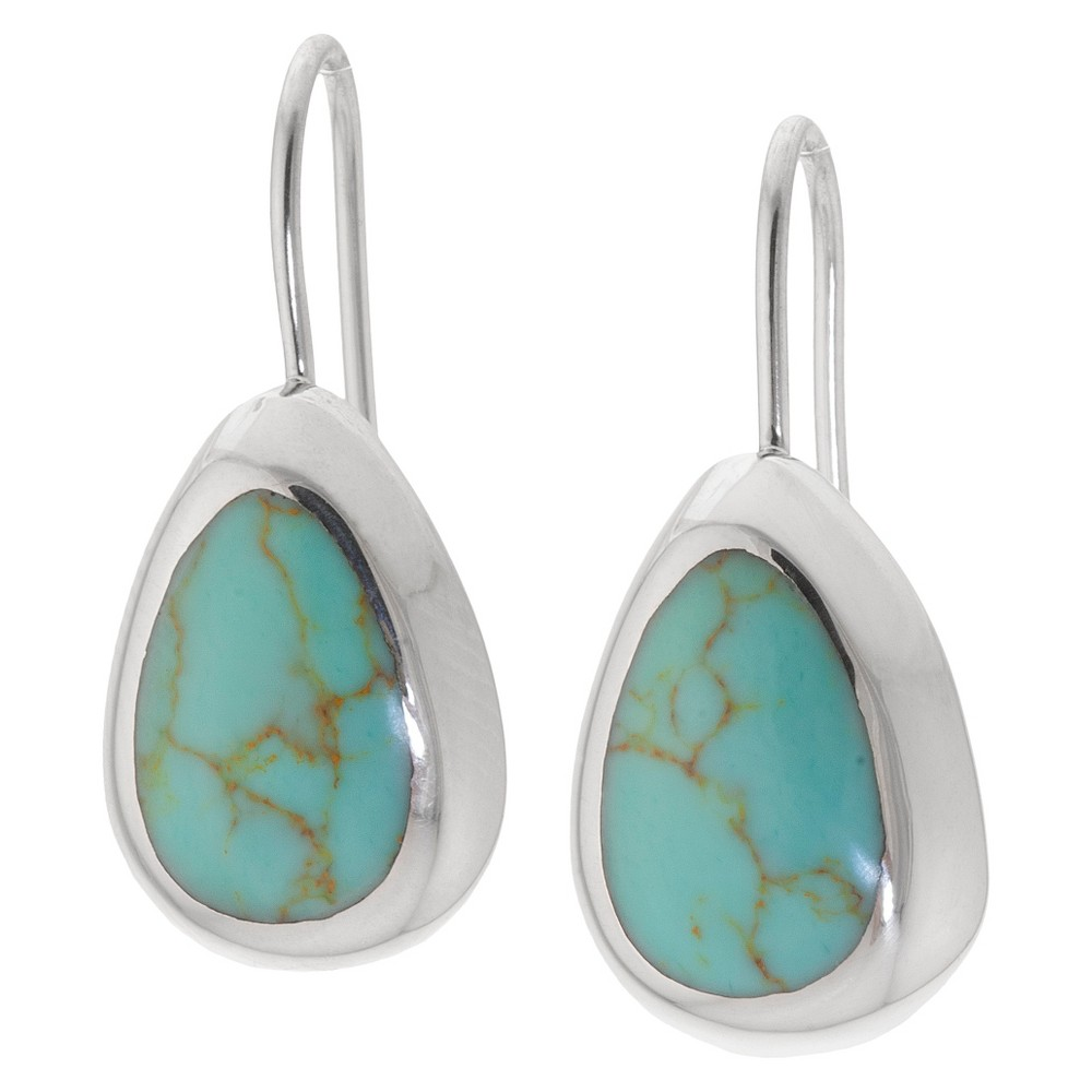 Sterling Silver Tear Drop Earrings with Inlay - Turquoise, Women's