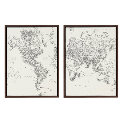 """18"""" x 24"""" 2pc Sylvie Vintage Black and White World Map Framed Canvas by the Creative Bunch Studio Brown - Kate & Laurel All Things Decor"""